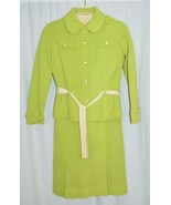 1960's Mod Secretary Green Beige 100% Wool 2 Piece Dress Suit Modern Day... - $69.29
