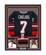 FRAMED Autographed/Signed CHRIS CHELIOS 33x42 Chicago Black Jersey JSA COA Auto - $399.99