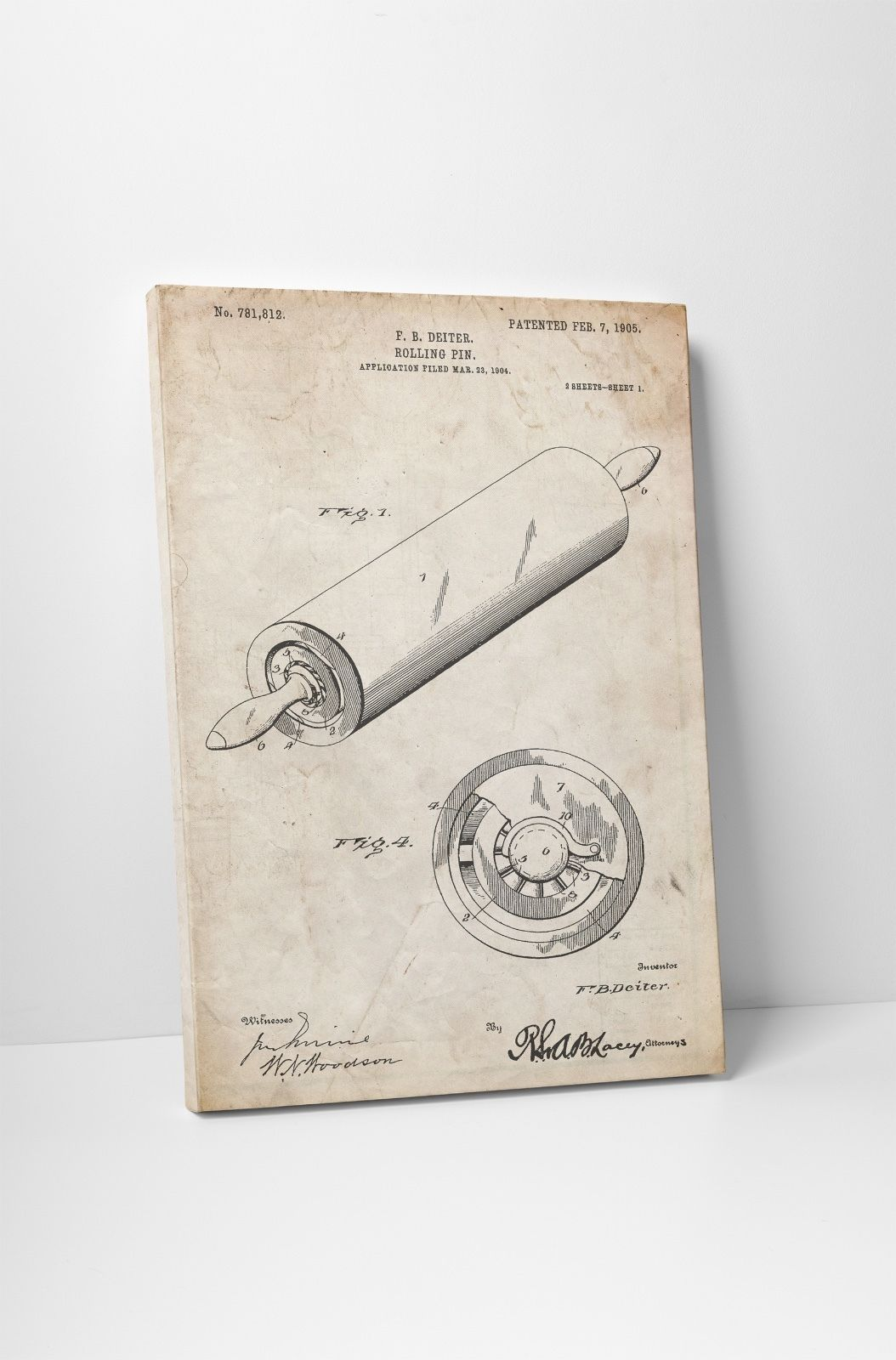 Rolling Pin Patent Print Gallery Wrapped Canvas Print - $44.50 - $53.41