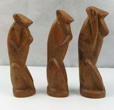 Lot of 3 Vintage African Wood Hand Carved Monkeys Figure See Hear Speak No Evil  image 5