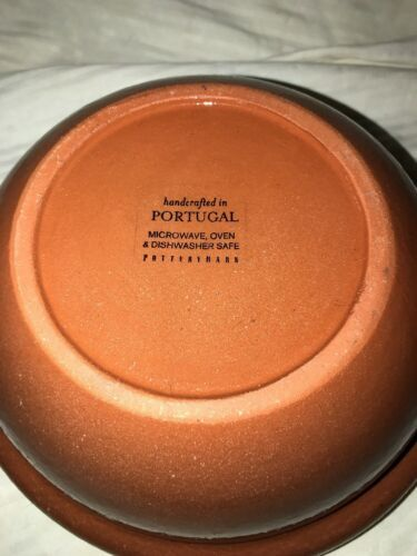 "Pottery Barn Mixing Bowl Handcrafted In Portugal 8.25"" Diameter Coral Cream Vtg image 8"
