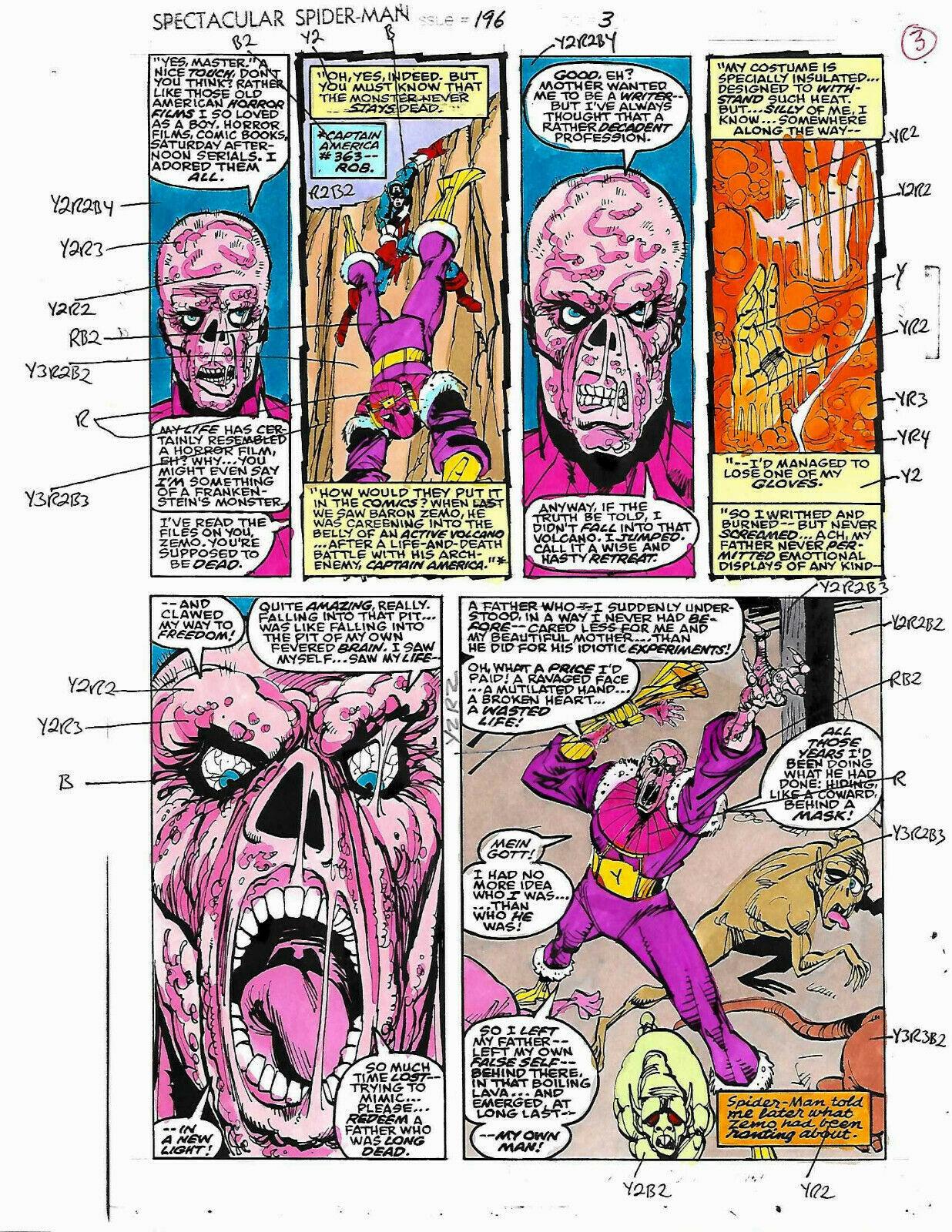 Original Spider-man Marvel color guide art: Captain America vs Zemo/Sal Buscema - $99.50