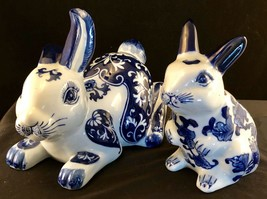 Blue And White Porcelain Sitting Rabbit Figurines 6 And 7 Inches Tall Vi... - $63.86