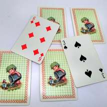 6 Elf Watering Garden Playing Cards for Crafting, Re-purpose, Up-cycle, Vintage  image 2