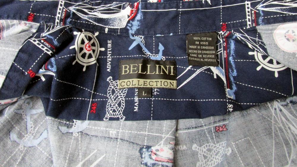 New Sz L Bellini Collection Mens Navy w/Sailing Motif Cotton LS Button Shirt