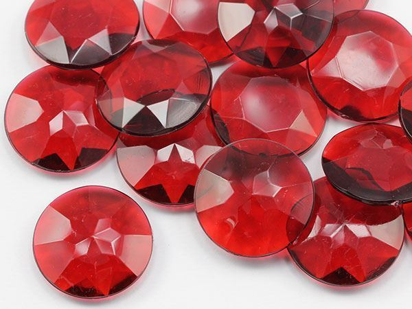 27mm Red CH17 Round Pirate Jewels For Games and Parties 25 PCS