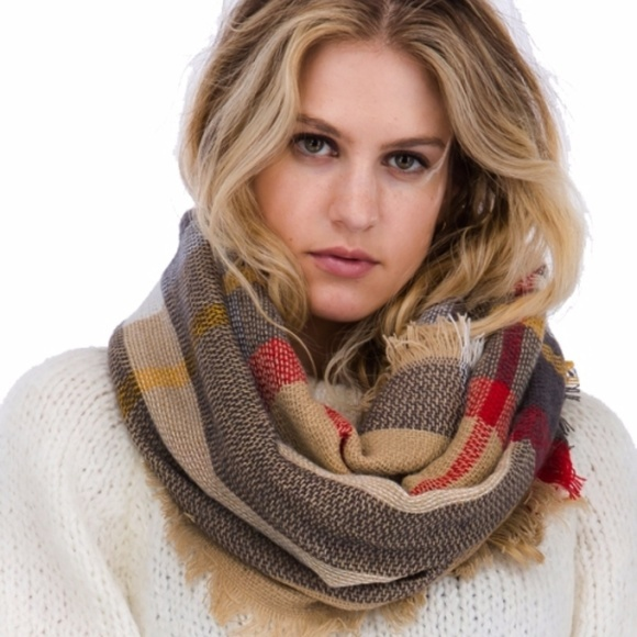 Brown Plaid Pattern Fringe Infinity Scarf