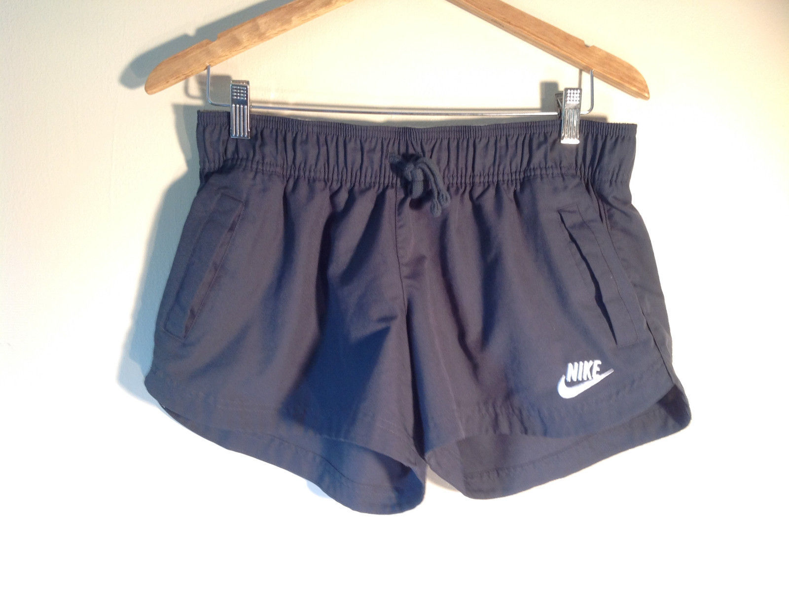 Nike Women's Size 12 or 14 L Gym Shorts Grey + Embroidered Logo & Front Pockets