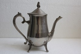 "Old Vintage 1940's Silver Plate Tea Coffee Pot Footed 4 Leg Hinged Lid Decor 9"" - $39.59"