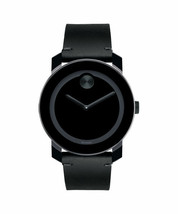 BRAND NEW MOVADO BOLD 3600337 MUSEUM DIAL BLACK LEATHER MEN'S WATCH - $257.39