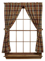 New Montana Checked Short Panel Pair Curtains Lodge Lake House - $48.51