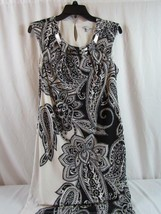 Sandra Darren Sleeveless Sheath Dress Sz 6 Black White Paisley Silver Ne... - $32.29