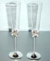 Kate Spade Grace Avenue Champagne Flute Glasses, Setof 2 Silverplate w/B... - $54.90