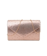 Multi Rhinestone evening party clutch with chain   - $49.99