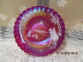 FENTON ART GLASS 1992 RED CARNIVAL HP CHRISTMAS THUMBPRINT BETHLEHEM SCE... - $155.00