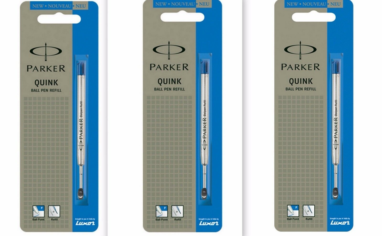 3 x Parker Quink Flow BallPoint Ball point Pen Refills BallPen Blue Fine New