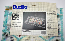 "Vintage New Old Stock Bucilla Latch Hook Rug Canvas Only-Lace Floral 26"" x 48""  - $37.95"