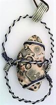 Leopardskin Jasper Nugget Wire Wrap Pendant 14 - $10.91