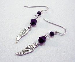 Tiny Angel Wing Crystal Charm Earrings Black Handmade - $12.75