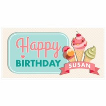 Ice Cream Social Birthday Banner Personalized Party Backdrop - $22.28+