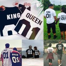 Street Punk Hip-hop King And Queen Short Sleeve Couple T-shirt Price for one