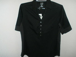 NWT Women's Adidas AdiPURE Jersey Stretch Golf Polo Black Tailored Fit Sz Large - $39.59