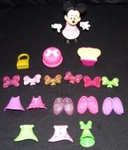 Walt Disney Minnie Mouse Dress Up Doll Toy Snap on Clothes Shoes 18 pcs - $19.61