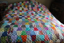 quilt handmade patchwork cotton new machine quilted multicolor queen size - $529.65