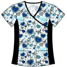 DSF Uniforms Mock Wrap Stretch Side Panel Print Scrub Top - $11.99
