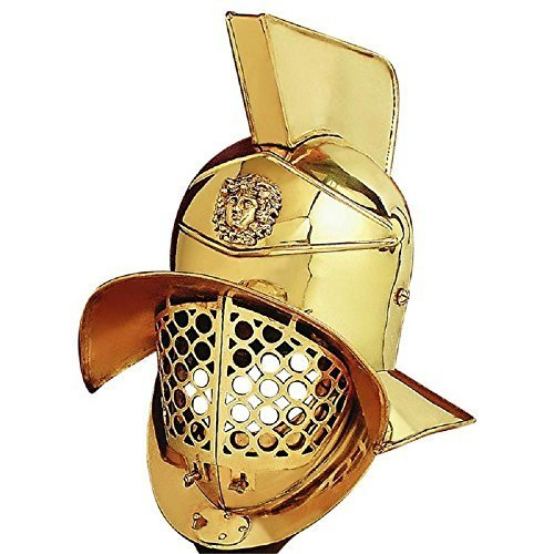 Primary image for Gladiator Roman Helmet - One Size Fit Most - Brass Armour