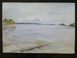 Painting Vintage landscape Lakesdie lake Watercolour Basket 51x35 CM P14 - $56.21