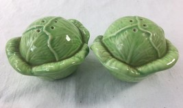 Vintage Cabbage Salt and Pepper Shakers Green Majolica Ceramic Lettuce - $19.95