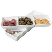 Avant 3-Compartment Plastic Appetizer Serving Tray | set of 4 White - £15.26 GBP