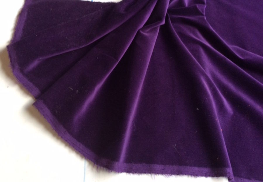 Purple Washable Cotton  Velvet, by the Metre, Including 1st Class  Postage