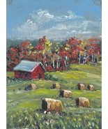 Original Oil Painting Okla  landscape Hay harvest hay bales barn  miniat... - $5.00