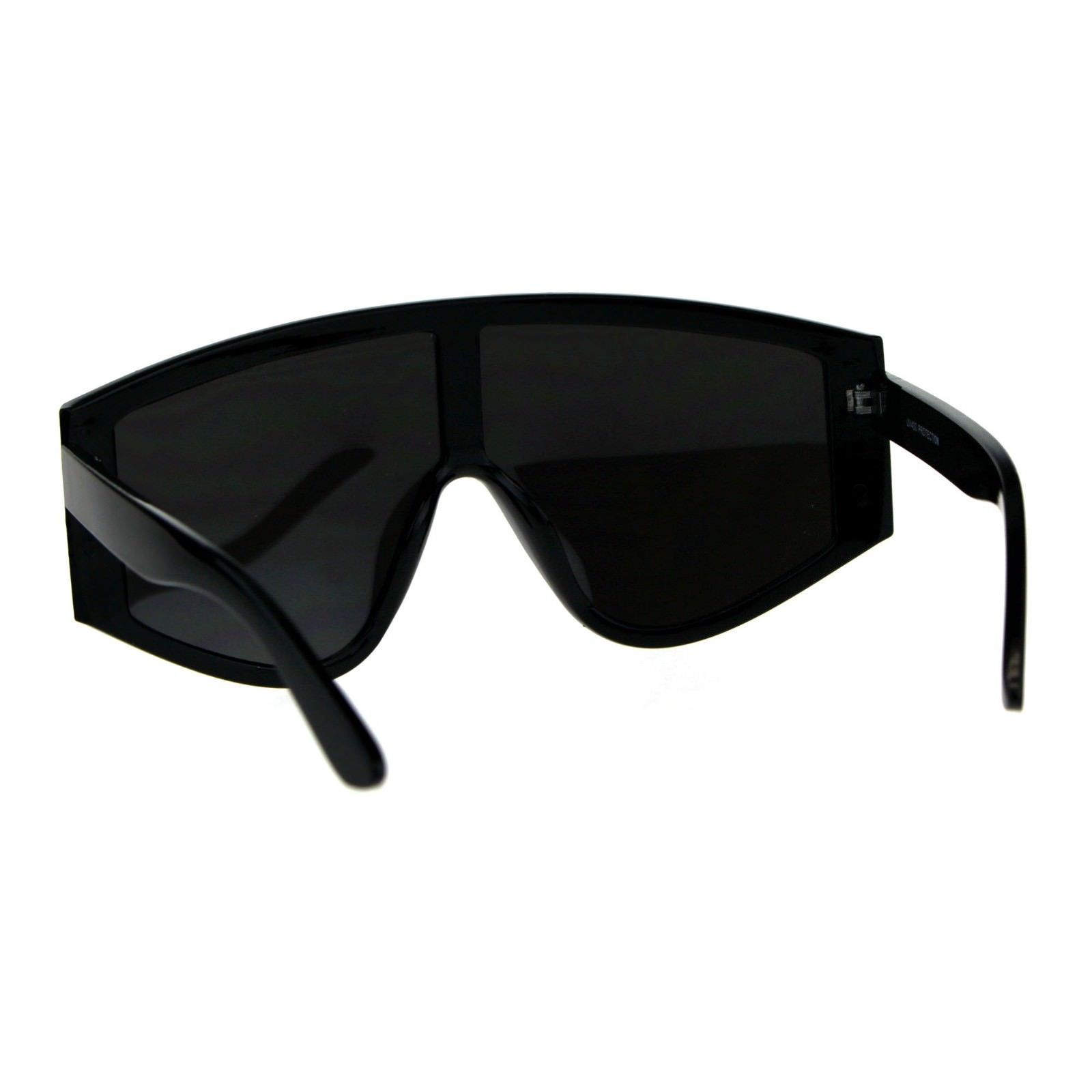 Super Oversized Goggle Style Sunglasses Arched Top Shield Fashion Mirror Lens