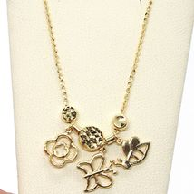 18K YELLOW GOLD NECKLACE, FLOWER, DAISY, BUTTERFLY, BEE PENDANT, MADE IN ITALY image 3