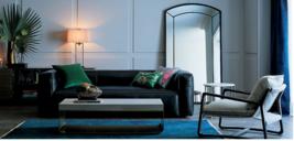 """99"""" Nellie Black Leather Sofa - Restoration Hardware Fulham Style - $4,360.05"""
