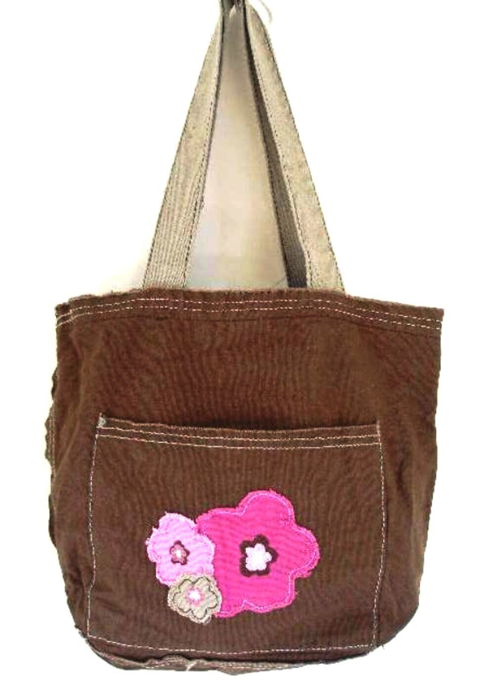 Primary image for Thirty-One Mini Retro Metro Bag Brown w/ Frayed Pink Flowers Retired 31 Gifts