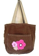 Thirty-One Mini Retro Metro Bag Brown w/ Frayed Pink Flowers Retired 31 ... - $24.74