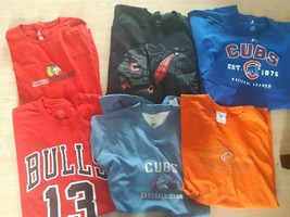 Lot of 6 Sports T Shirts Chicago Cubs Bulls Blackhawks Size 2XL Mens Baseball - $40.55