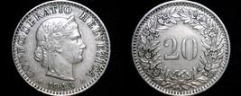 1943 Swiss 20 Rappen World Coin - Switzerland - $13.99