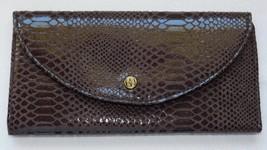 Iman Faux Snakeskin Dark Brown Tri-Fold Wallet