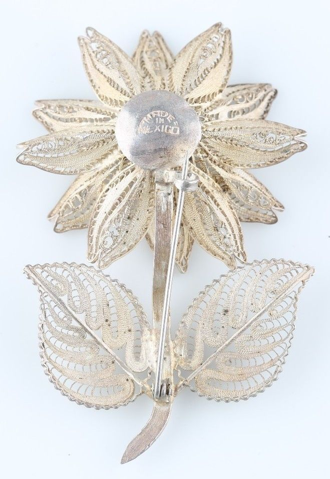 Vintage Sterling Silver Large Filigree Flower Brooch Made in Mexico