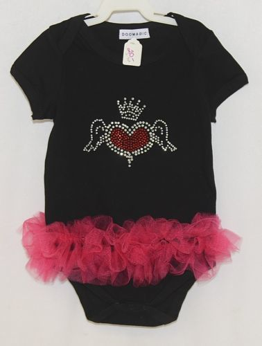 Doomagic Black One Piece Pink Tutu Red Heart Wings Crown Size 2 to 3 Years