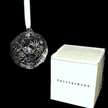 Retired Pottery Barn Silver Glass Christmas Tree Ornament Cut Globe Crystal Ball - $89.99