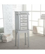 Silver Finish Wooden Jewelry Armoire Storage Cabinet 5 Drawer Mirror Org... - $154.34