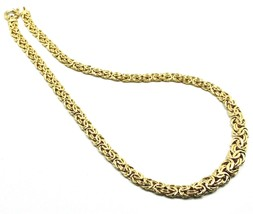 """18K YELLOW GOLD FLAT BYZANTINE NECKLACE CHOKER 7/10mm, 45cm, 18"""", MADE IN ITALY image 2"""