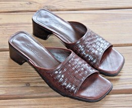 Cole Haan Size 7.5 AA City Tan Brown Leather Basket Weave Slide Sandals ... - $28.49