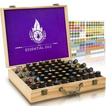 Essential Oil Wooden Box - Storage Case with Handle. Holds 68 Bottles and Roller